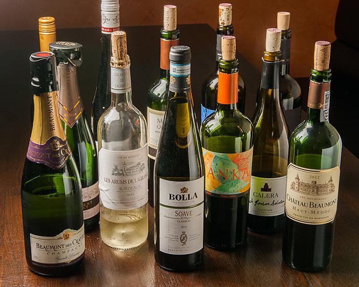 ボトルワインは250種類前後ご用意!
